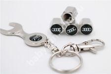 AUDI Car Tire Tyre Valve Caps + Spanner Ring Chain Badge Logo A1 3 4 5 6 7 Q5 Q7