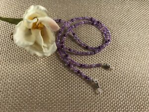 """Soothing VIOLET 27"""" Glass 6/0 Beaded Eyeglass/Sunglasses Chain Made in USA"""