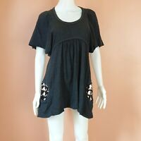 TSUMORI CHISATO OCTUPOS PRINT POCKETS BABYDOLL DRESS DARK GRAY SIZE 2