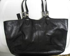 COACH SIGNATURE Shoulder Tote Black Leather Handbag Super EUC
