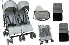 Girls Boys Grey Twin Double Stroller Buggy Pram inc Bag Footmuffs & Raincover
