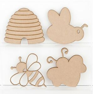 Wooden MDF Honey Bees Beehive Insects Decoration 3mm Thick Tags Blank