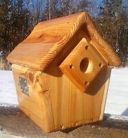 Cute decorative, square Wren or Chickadee bird house, cedar wood, TBNUP # 1WC
