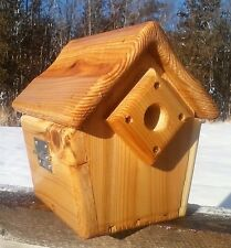 Cute decorative, square Wren or Chickadee bird house, cedar wood, The Birds Nest