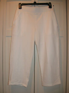 Talbots Relaxed Fit Pull on Cropped Pant in White Size PP