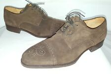 Mens Magnanni Chocolate Brown Suede Shoes Size 10 (13739) Cap Toe Brogue Detail