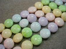 10 Lovely Czech Glass Button Beads 14mm Opaque Pastel Mix