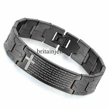 "8.3"" Mens Black Stainless Steel English Lords Prayer Cross Bangle Bracelet*16MM"