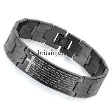 """8.3"""" Mens Black Stainless Steel English Lords Prayer Cross Bangle Bracelet*16MM"""