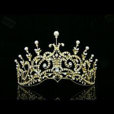 Gold Bridal Pageant Rhinestones Crystal Pearl Wedding Tiara Crown 8420