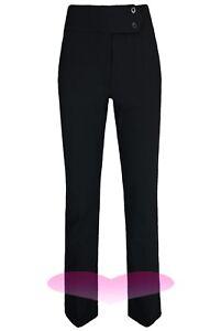 "LADIES 31"" inch Leg TROUSERS GIRLS BLACK HIGH WAIST STRAIGHT LEG LONG PANTS"