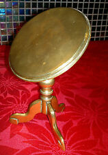 Antique Victorian Brass Round Tilt Top Tripod Table Candle Reflector