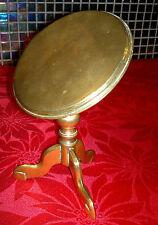 Latón Antiguo Victoriano Redondo superior de inclinación De Mesa Trípode Reflector De Vela