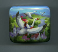 Russian Lacquer box  Fedoskino.The journey of Nels. Hand Painted.