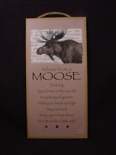 ADVICE FROM A MOOSE wood INSPIRATIONAL SIGN wall hanging NOVELTY PLAQUE animal