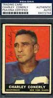 Charley Conerly 1961 Topps Psa Dna Certed Autograph Authentic Hand Signed