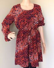 FOREVER 21 Womens Belted Knee Length Dress Fit Flare Long Sleeve Tunic Top Large