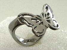 Butterfly Thumb Ring Stainless Steel Silver Filigree Size 6-11