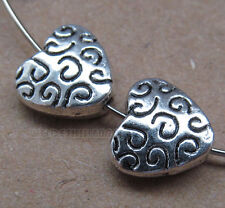 10pc Retro Tibetan Silver Heart-shaped Spacer Beads Jewelry Findings B0135P
