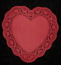 """Valentines Day Deep Red 10"""" Heart Paper Doilies 8 Packs Lot 80 Doiley Wedding !"""