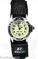 Ravel Kids Black Velcro Nylon Strap White Face Glow in The Dark Watch R1704.3