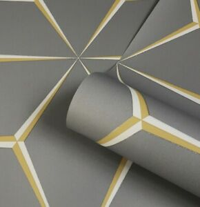 Belgravia Harper Mustard Yellow Grey Glitter Geometric Luxury Wallpaper 9740