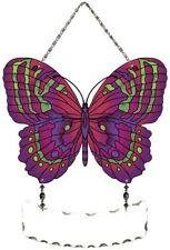 Joan Baker Designs Hand Painted Glass Suncatcher-SFS2009-Magenta/Green Butterfly