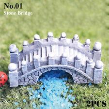 Stone Crafts Home Decor Miniatures Figurines Garden Bridge Steps Waterwheel No.01