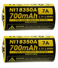 2 Pack Nitecore IMR 18350 NI18350A 700mAh Rechargeable Batteries 7A 3.7v