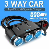 3Way Cigarette Lighter Socket Splitter Power Adapter Dual USB Car Charger 12/24V