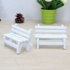 White Mini Dollhouse Park Bench Furniture Accessories Model Outdoor Chair Toys