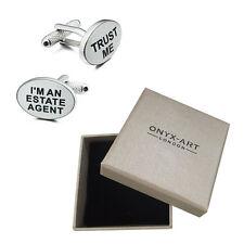 Mens Estate Agent Joke Novelty Cufflinks & Gift Box By Onyx Art