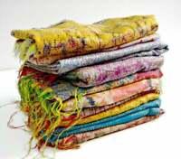 5 PC Indian Vintage Silk Scarf Scarves Kantha Stole Wrap Sari Wholesale Lot