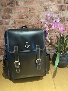 New Genuine Leather Laptop Backpack Rucksack Messenger Bag Satchel Unisex Black