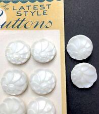 9 Lovely 1.8cm Vintage 1940s White Glass Flower Buttons