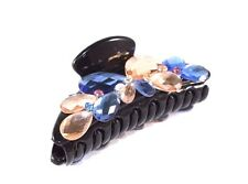 New Black Hair Clip Claw w/ Light Blue and Champagne Brown Rhinestone Crystals