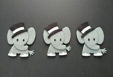 3 handmade elephant Embellishments.felt Die cuts. With black glitter top hats
