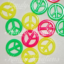 20 Peace Sign Beads for deco kandi jewelry keychain neon pink yellow green Kids