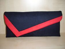 RED & NAVY BLUE asymmetrical faux suede clutch bag. Handmade in UK