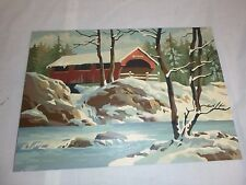 Vtg Paint By Number Covered Bridge In Winter Craft Master 1963 PBN