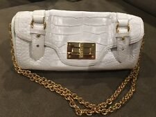 RALPH LAUREN Vintage White Alligator Crocodile Embossed Leather w/Gold Closure.