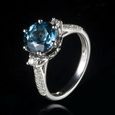 Natural Diamond Ring Solid 14K White Gold 3ct London Blue Topaz Vintage Antique