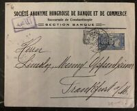 1918 Constantinople Turkey Commercial Bank Cover To Frankfurt Germany