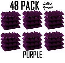 e8f8c8bd11 Acoustic Foam Pro-Pack 48 Purple Pyramid Studio Soundproofing Tiles 12x12x3