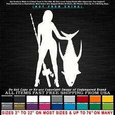 Fishing Girl with Tuna catfish walleye marlin bass Salt Water Sticker Decal