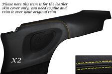 Amarillo Stitch 2x Puerta Trasera Tarjeta Panel De Piel Cubre se adapta a Porsche Carrera 997 04-11