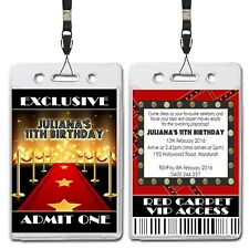 Red Carpet Hollywood VIP Lanyard Birthday Invitation