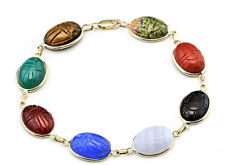 14K Yellow Gold Link Bracelet With Oval Scarab Gemstones 7.25 Inches