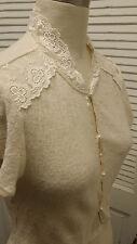 ivory FREE PEOPLE lace BOLERO dainty sweater KNIT crop TOP cardigan Sz L Ret $98