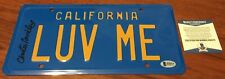 CHRISTIE BRINKLEY SIGNED LUV ME VACATION LICENSE PLATE BECKETT BAS